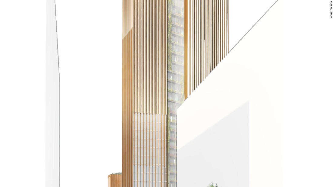 The firm states the building will be the world's tallest wood building if built.