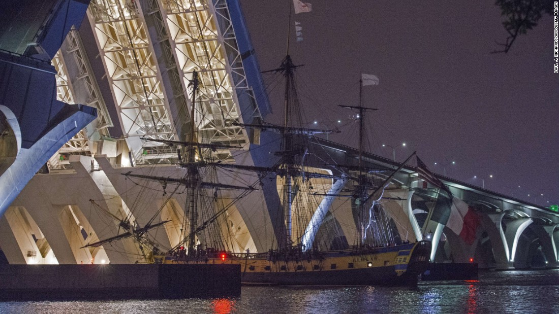 "It's a replica of the French frigate 'L'Hermione,"" the ship that brought General Lafayette to the United States in 1780 to rally the American rebels against the English Crown. Here, it can be seen passing through the Woodrow Wilson Draw Bridge near Alexandria, Virginia."