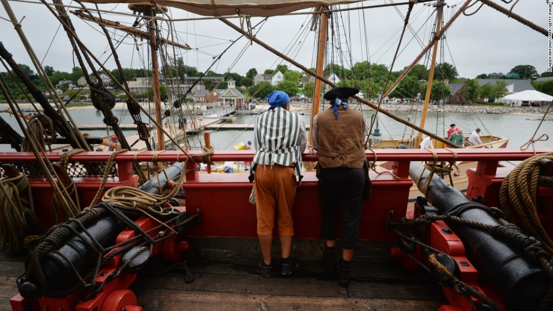 Two Hermione sailors look at the port after the official arrival ceremony at Yorktown, Virginia.