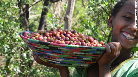 Dukale's daughter shows off a bowl of coffee cherries. Dukale's family spent their days collecting firewood, putting off education and business goals.
