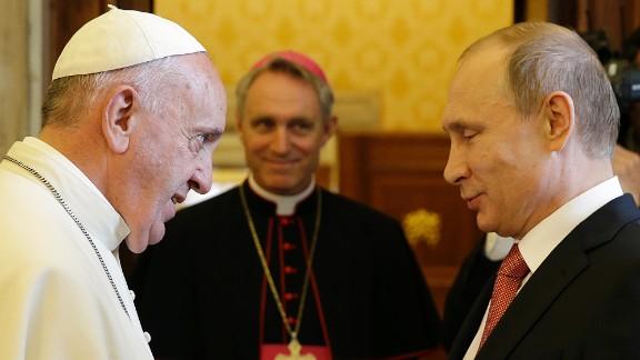 Pope Francis meets Russian President Vladimir Putin at the Vatican.