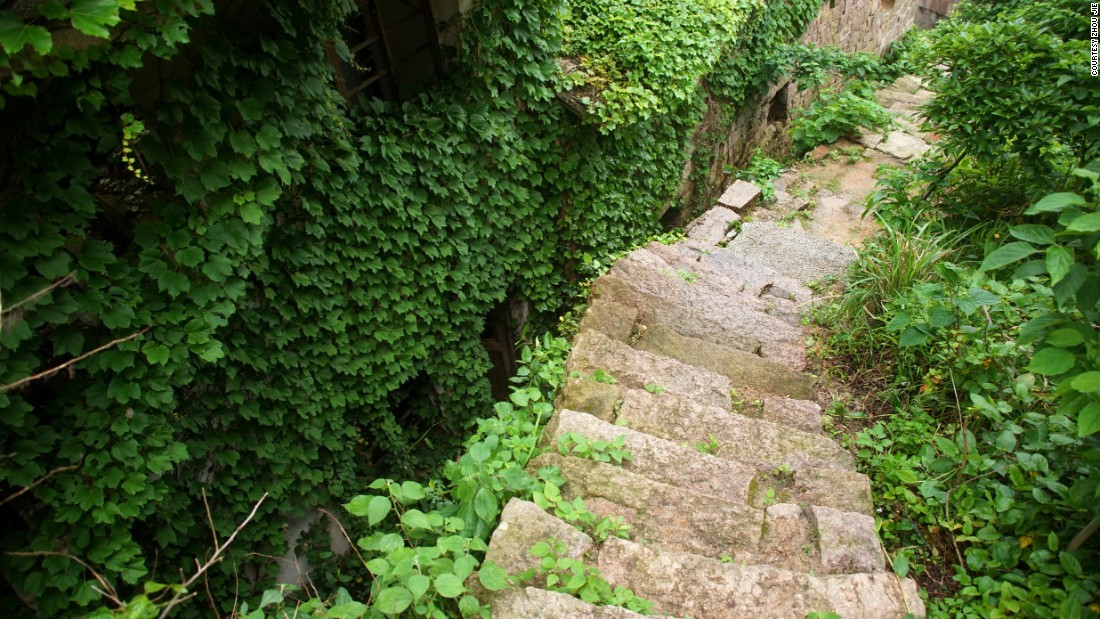 Ferns, weeds and vines cover steps of this once bustling village filled with fisherman and their families.