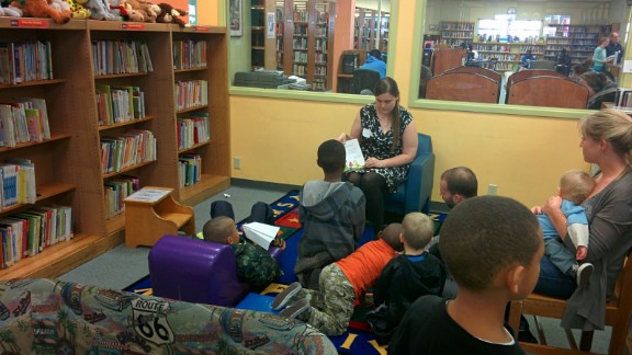 When school was canceled during protests, students gathered at the Ferguson library.