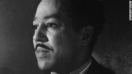 circa 1940:  African-American poet and writer, Langston Hughes (1902 - 1967). Although born in Joplin, Missouri, he was a central figure in the Harlem renaissance.  (Photo by MPI/Getty Images)