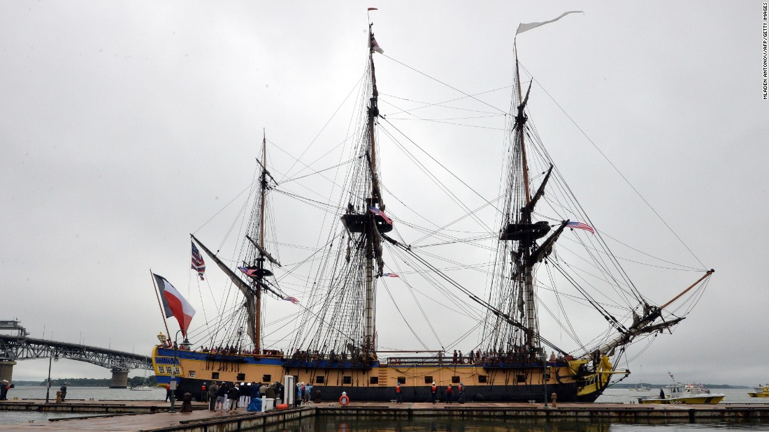 This is the sight that greeted people gathered at the dock in Yorktown Harbor, Virginia on Tuesday. But what is a ship like this doing on the water in 2015?