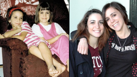 Elena and her sister, Valerie -- both in childhood, left, and later in life.
