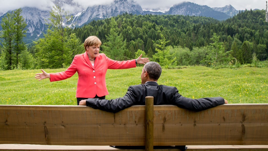 "German Chancellor Angela Merkel talks with U.S. President Barack Obama <a href=""http://www.cnn.com/2015/06/08/politics/barack-obama-angela-merkel-photo-germany-mountains/"" target=""_blank"">near the Bavarian Alps</a> on Monday, June 8. Obama and other world leaders were in Germany for the annual G-7 Summit."