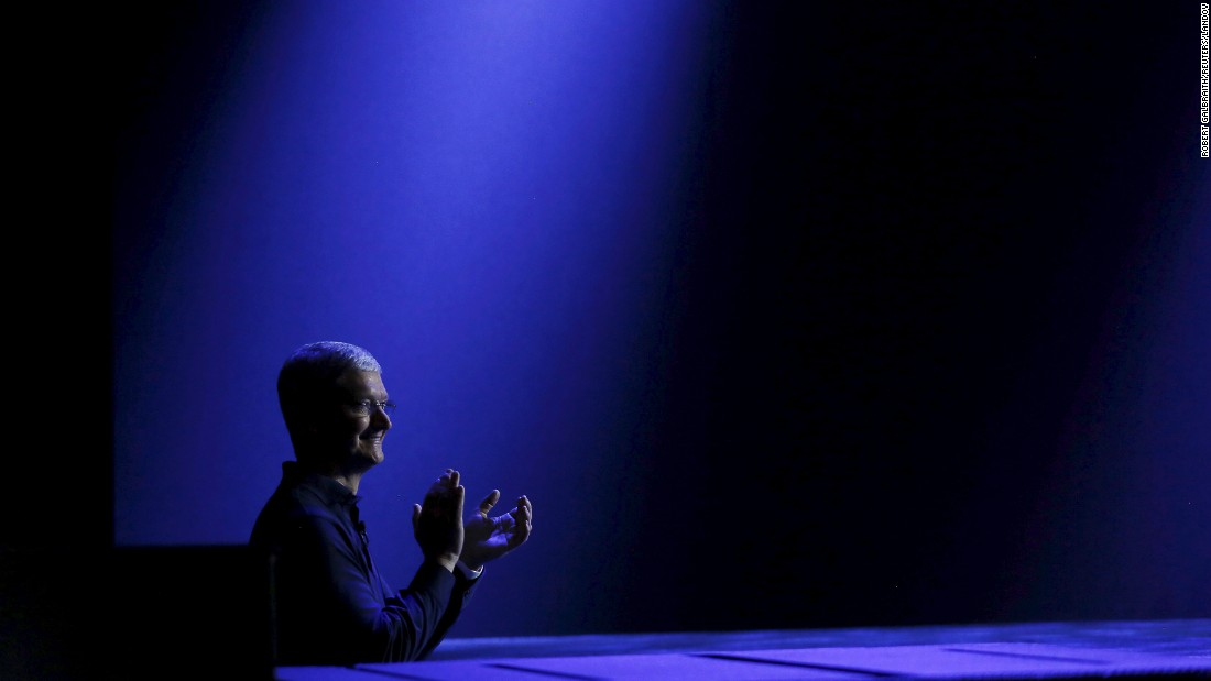 "Apple CEO Tim Cook waits to return to stage during his keynote address Monday, June 8, at the Worldwide Developers Conference in San Francisco. At the annual event, Apple unveiled <a href=""http://money.cnn.com/2015/06/08/technology/apple-music/index.html"" target=""_blank"">a new streaming music service</a> and <a href=""http://money.cnn.com/2015/06/08/media/apple-news-app/"" target=""_blank"">a news app.</a> Software updates were also announced."