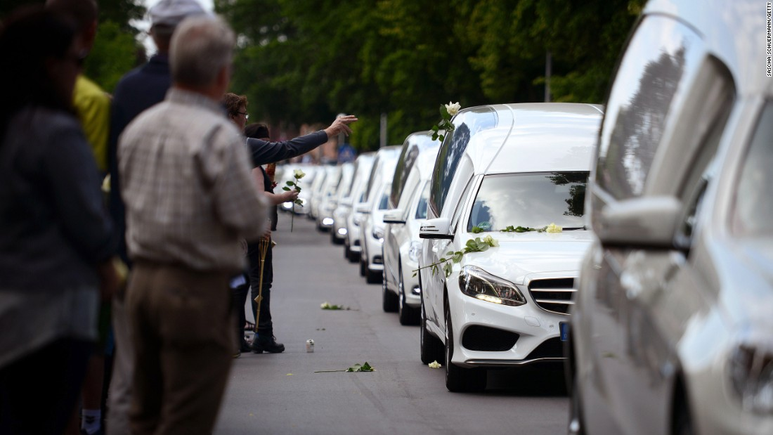 "Hearses in Haltern, Germany, carry the remains of 16 local students and two teachers who were among the victims of the <a href=""http://www.cnn.com/2015/03/24/world/gallery/france-plane-crash/index.html"" target=""_blank"">Germanwings plane crash</a> in March. Flight 9525 was carrying 150 people when it crashed in the French Alps. Co-pilot Andreas Lubitz deliberately crashed the plane, authorities concluded."
