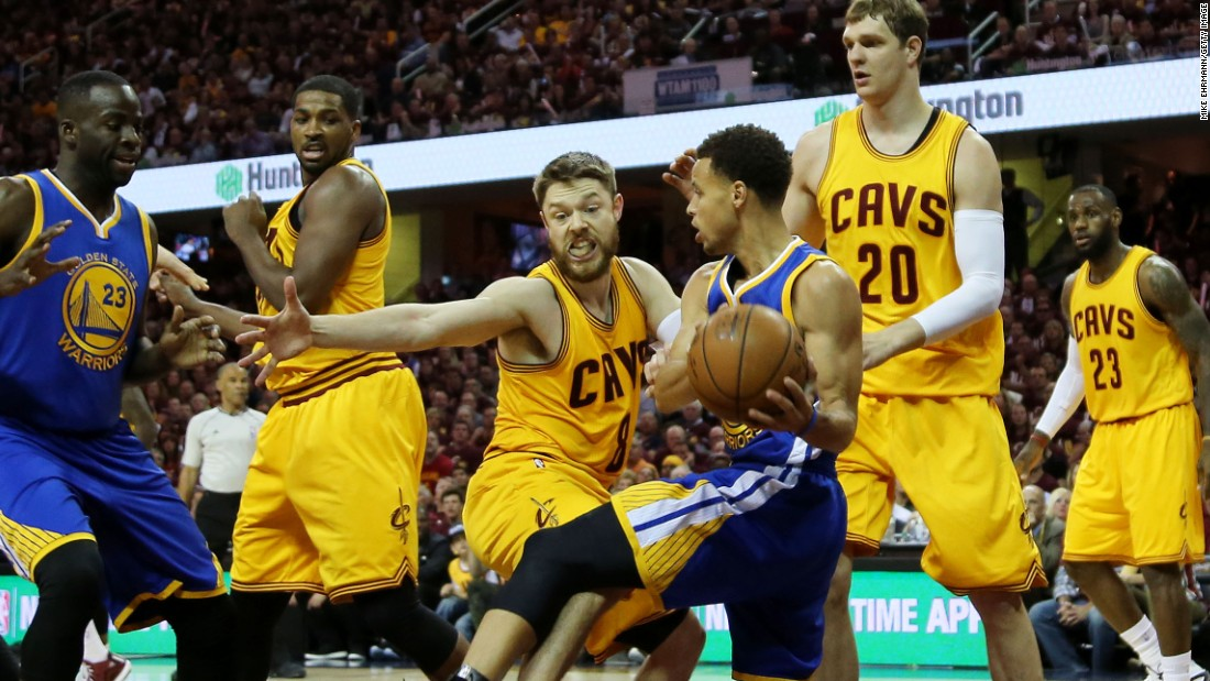 Dellavedova has made a name for himself in the NBA Finals defending against MVP Stephen Curry (#30) of the Golden State Warriors.