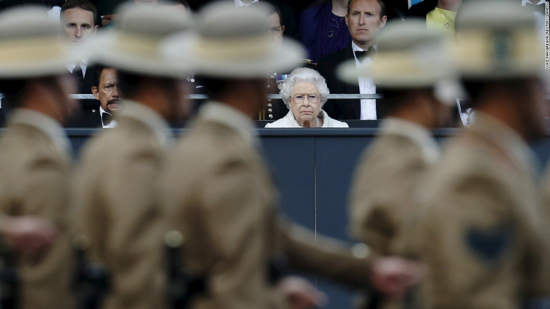 Britain's Queen Elizabeth watches Gurkhas parade in London on Tuesday, June 9. Gurkhas are Nepalese soldiers who have been part of the British Army for 200 years now.