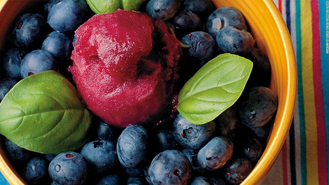 A blend of blueberries, basil creates Mount Desert Island Ice Cream's blueberry basil sorbet. The basil is fresh from Maine. Still not impressed? The blueberries are hand-deseeded.<br />