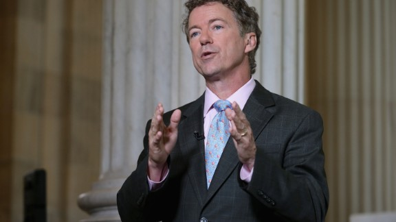 U.S. Sen. Rand Paul (R-KY) does a live interview with FOX News in the Russell Senate Office Building rotunda on Capitol Hill June 1, 2015 in Washington, D.C.
