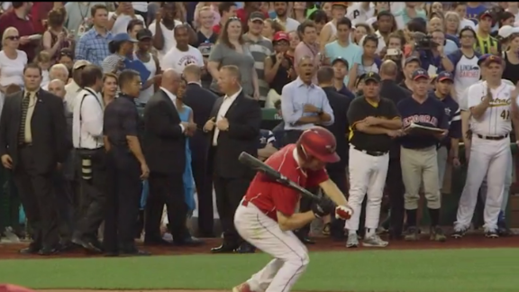 President Obama cheers after Rand Paul strikes out.