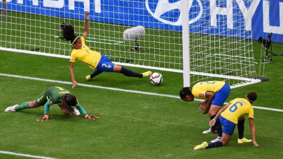 Ingrid Rodriguez of Ecuador fails to prevent an own goal by teammate Angie Ponce.