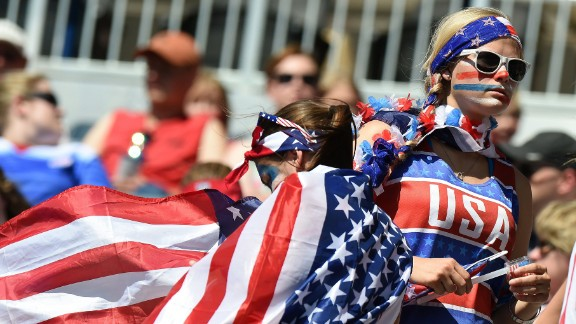 U.S. fans prepare to watch the Sweden match.