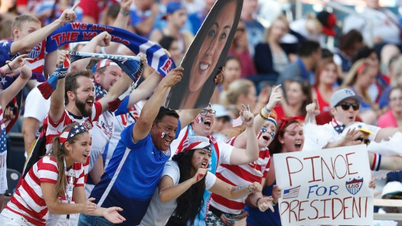 U.S. supporters cheer their team during the Sweden match.