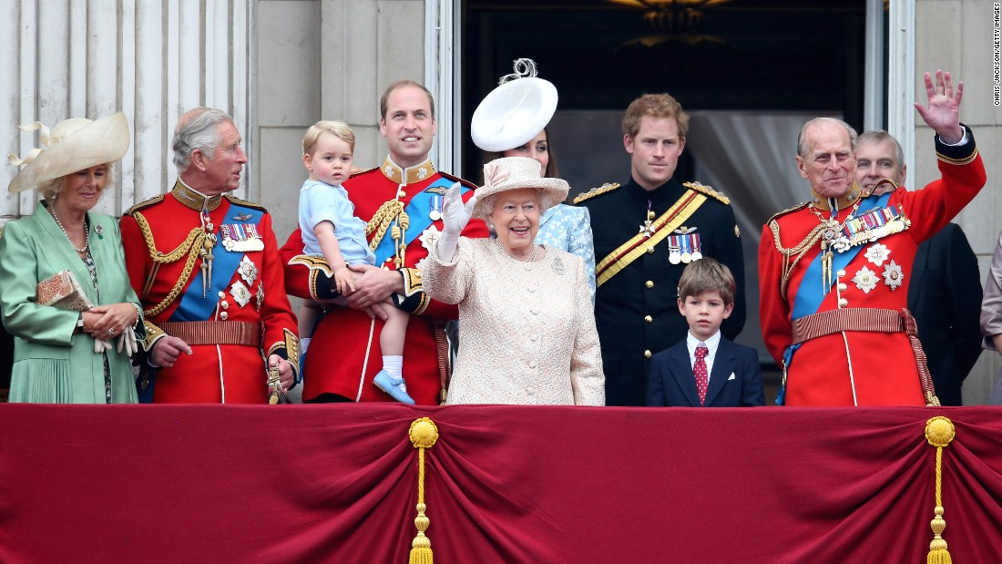 Members of the royal family stand on the balcony of Buckingham Palace during the Trooping the Colour on June 13, in London -- from left, Camilla, Duchess of Cornwall; Prince Charles, Prince of Wales; Prince George of Cambridge; Prince William, Duke of Cambridge; Catherine, Duchess of Cambridge; Queen Elizabeth II; Prince Harry; and Prince Philip, Duke of Edinburgh. The ceremony is the British monarch's annual birthday parade and dates back to the time of Charles II in the 17th century, when the colors of a regiment were used as a rallying point in battle. The Queen's actual birthday is April 21.