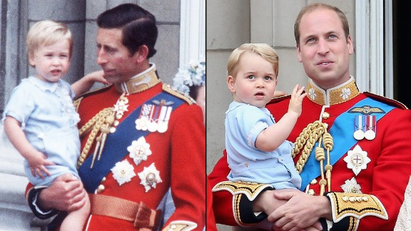Prince William, left, appears at the 1984 Trooping of Colour with his father Prince Charles. More than twenty years later a similarly dressed Prince George appears and the 2015 Trooping of Colour held by Prince William.