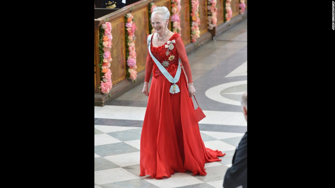 Queen Margrethe II of Denmark arrives.