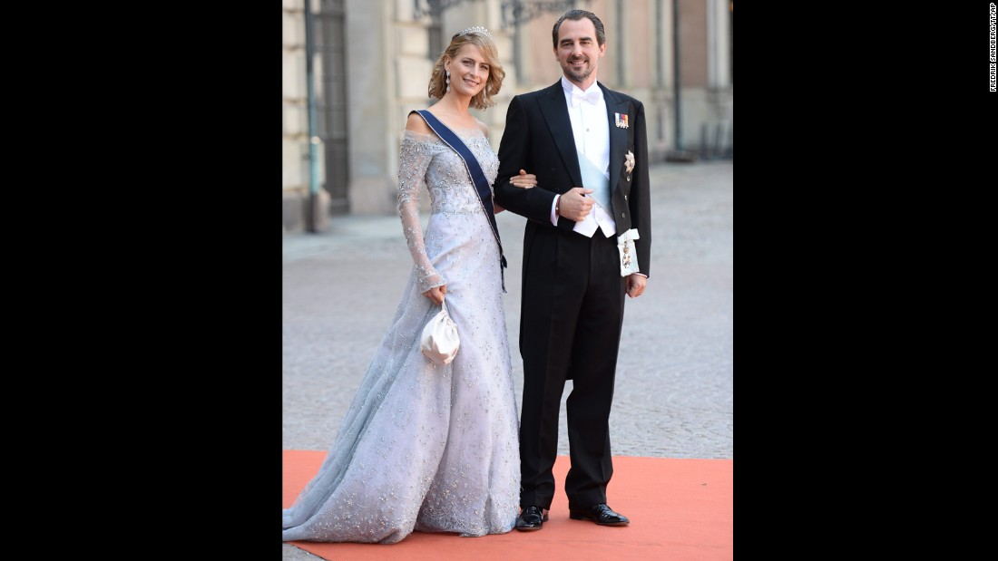 Greece's Prince Nikolaos and Princess Tatiana arrive for the wedding.