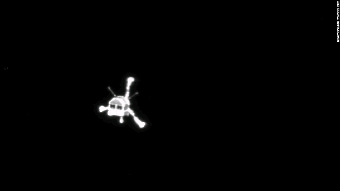 "One of the primary objectives of the Rosetta mission was to drop the Philae lander onto the comet. The probe was successfully deployed in November 2014, becoming the first probe to land on a comet. But Philae failed to grab onto the comet and bounced around. It fell silent a few days later. Then on June 13, 2015, <a href=""http://blogs.esa.int/rosetta/2015/07/10/new-communication-with-philae-commands-executed-successfully/"" target=""_blank"">Philae came out of hibernation</a> and ""spoke"" to mission managers at the European Space Agency for 85 seconds. This photo above was taken by the lander's mothership, the Rosetta orbiter, after the lander started its descent to the comet."