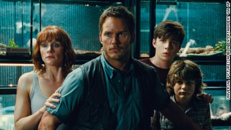 (Left to right) Bryce Dallas Howard as Claire, Chris Pratt as Owen, Nick Robinson as Zach, and Ty Simpkins as Gray.