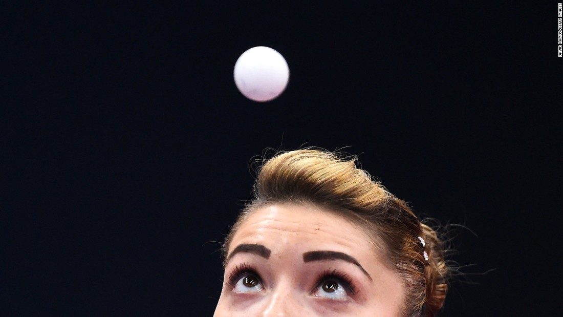 Romania's Bernadette Szocs watches the ball during a table-tennis match at the European Games on Saturday, June 13.