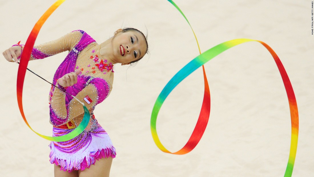 Tong Kah Mun, a rhythmic gymnast from Singapore, performs her ribbon routine during the Southeast Asian Games on Sunday, June 14.