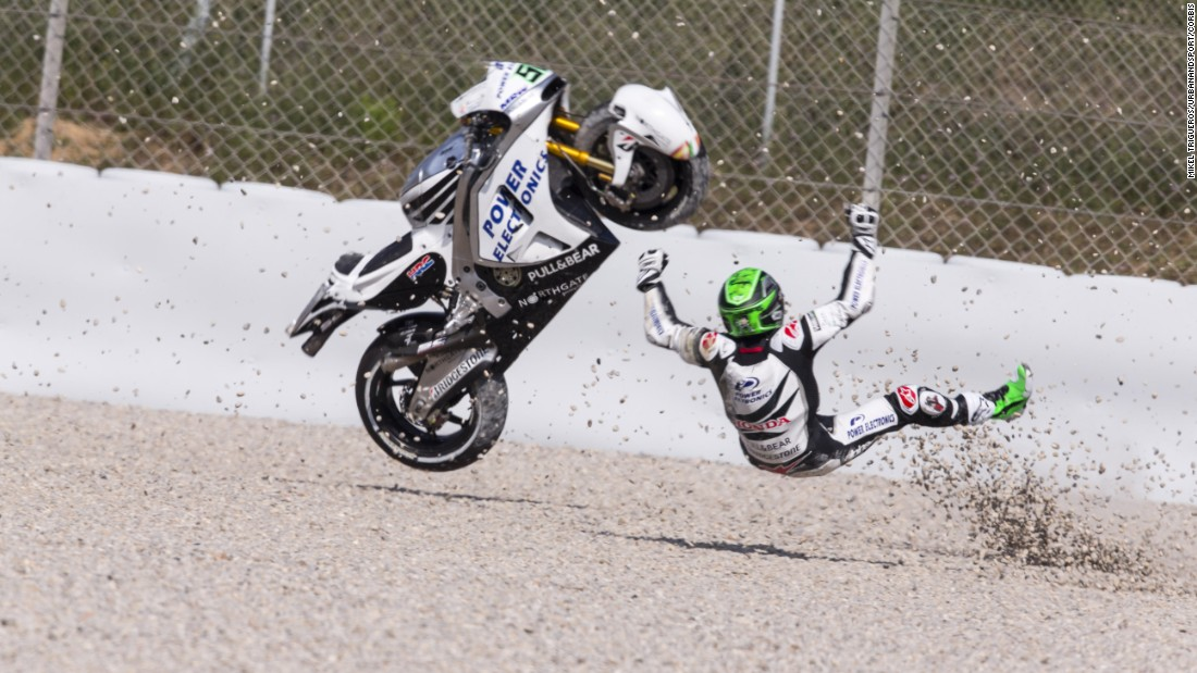 Eugene Laverty crashes Saturday, June 13, while qualifying for the MotoGP race in Barcelona, Spain. He came back the next day to finish a career-best 12th.