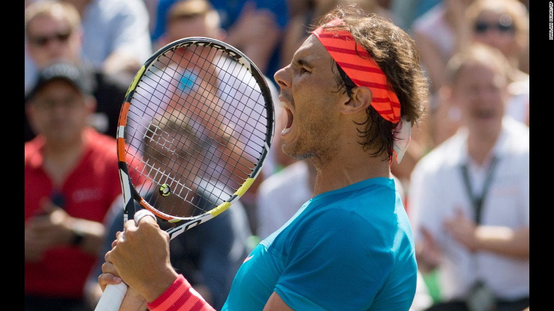Rafael Nadal celebrates after winning the final of the Mercedes Cup, a grass-court event in Stuttgart, Germany, on Sunday, June 14. It was Nadal's first title on grass since winning Wimbledon in 2010.
