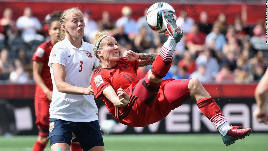 Germany's Anja Mittag performs an overhead kick while playing Norway in the Women's World Cup on Thursday, June 11. Mittag scored a goal in the match as the teams tied 1-1 in Ottawa.