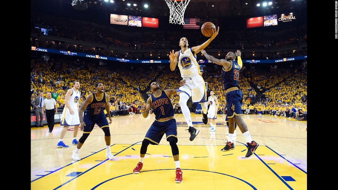 Golden State guard Shaun Livingston drives to the basket for a layup during Game 5 of the NBA Finals on Sunday, June 14. Livingston and the Warriors won 104-91 to take a 3-2 lead in the best-of-seven series.