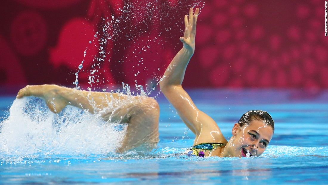 Slovakia's Nada Daabousova performs a synchronized-swimming routine during the European Games on Saturday, June 13.