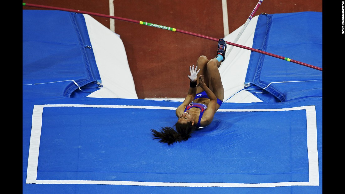 Thailand's Chayanisa Chomchuendee reacts after missing a pole-vault attempt at the Southeast Asian Games on Thursday, June 11. She still won the event, however.