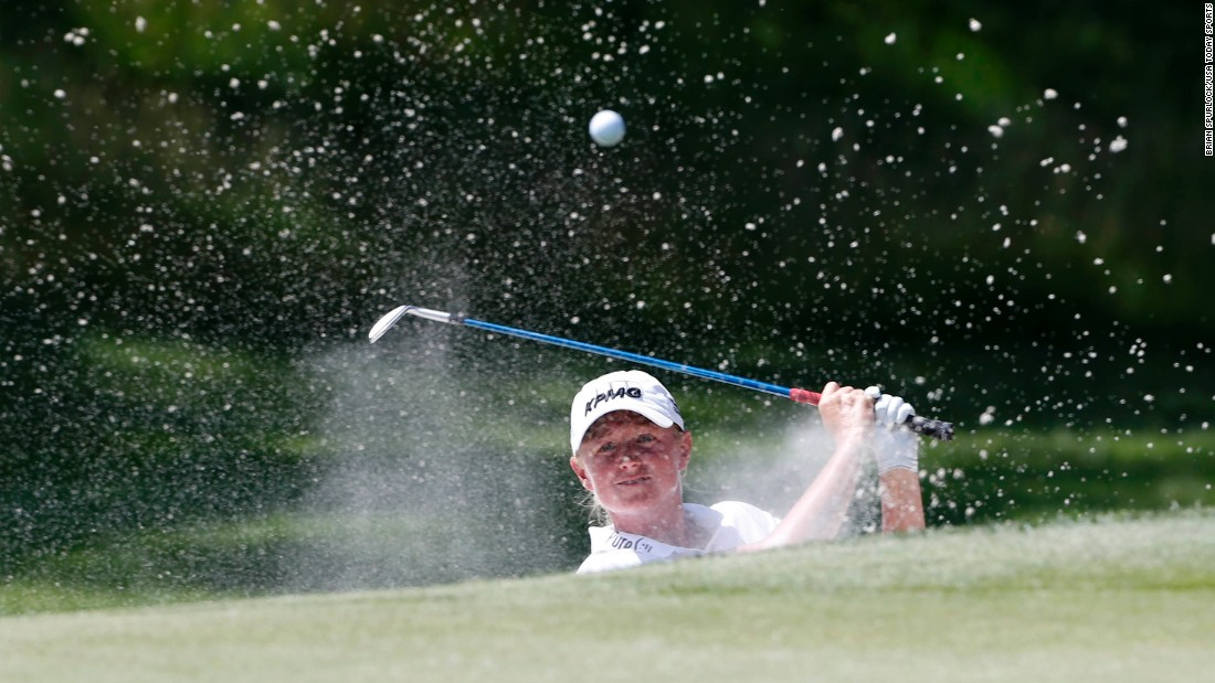 Stacy Lewis plays out of a bunker during the Women's PGA Championship on Saturday, June 13.