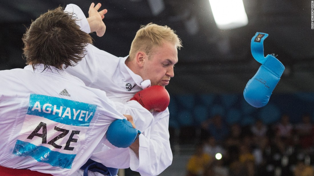 At the European Games, a glove goes flying during the karate semifinal between Germany's Noah Bitsch and Azerbaijan's Rafael Aghayev on Saturday, June 13. Aghayev won the match and went on to win the final of his weight class as well.