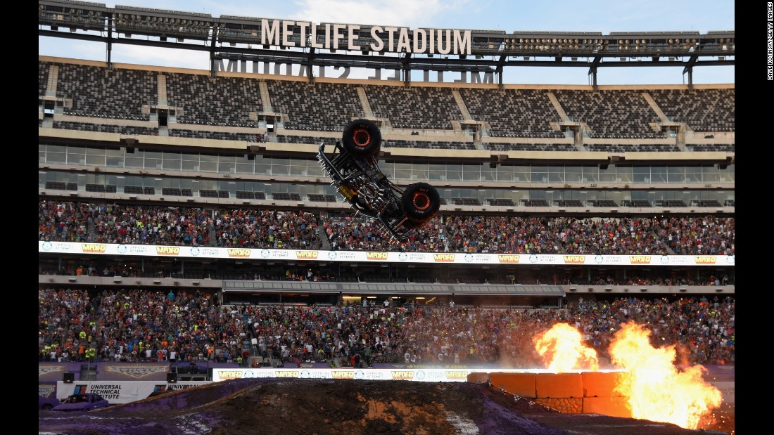 "Tom Meents performs a front flip on his monster truck Saturday, June 13, in East Rutherford, New Jersey. <a href=""http://www.foxsports.com/motor/story/stream-monster-jam-tom-meents-front-flip-world-record-monster-truck-metlife-stadium-061315"" target=""_blank"">Check out video of the flip, which had never been done before</a>"