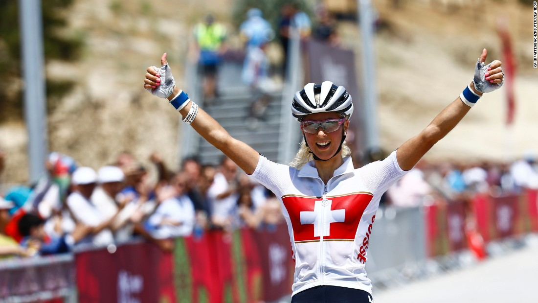 "Swiss mountain bike star Jolanda Neff reacts Saturday, June 13, after winning the cross-country race at the European Games. It was <a href=""http://www.cnn.com/2015/06/13/sport/european-games-first-gold-neff-baku/"" target=""_blank"">the first medal event</a> at the inaugural Games."