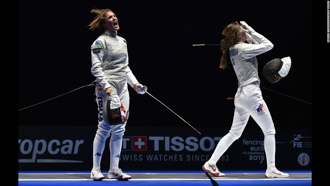 Italy's Arianna Errigo, left, reacts after defeating Russia's Larisa Korobeynikova in the women's team foil final Thursday, June 11, at the European Fencing Championships.