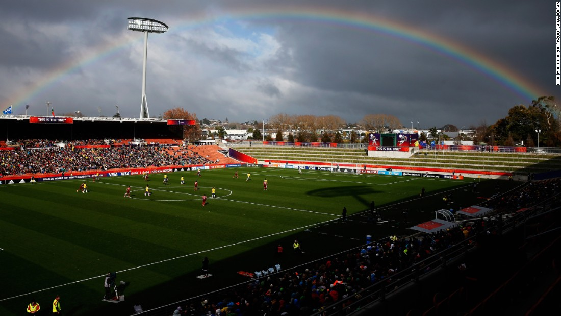 "A rainbow appears over Waikato Stadium during a match Sunday, June 14, at the Under-20 World Cup in Hamilton, New Zealand. <a href=""http://www.cnn.com/2015/06/09/sport/gallery/what-a-shot-sports-0609/index.html"" target=""_blank"">See 42 amazing sports photos from last week</a>"