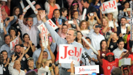 Former Republican Gov. Jeb Bush celebrates after announcing his candidacy for the 2016 presidential elections, at Miami Dade College on June 15, 2015, in Miami, Florida.