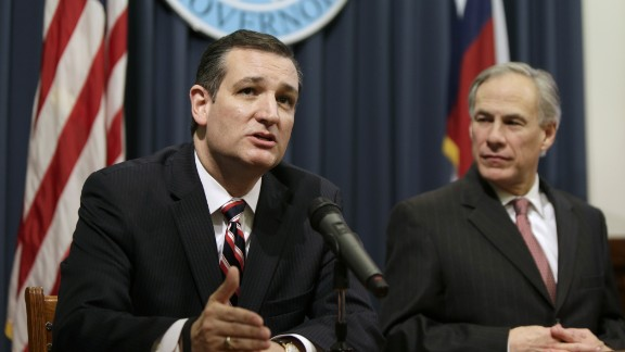 Sen. Ted Cruz, left, with Texas Gov. Greg Abbott, addresses the ruling by a federal judge in Texas delaying President Obama's executive action on immigration on February 18. Months later, on June 6, the 2016 presidential hopeful would hold a fund-raiser along the U.S.-Mexico border in McAllen, Texas.