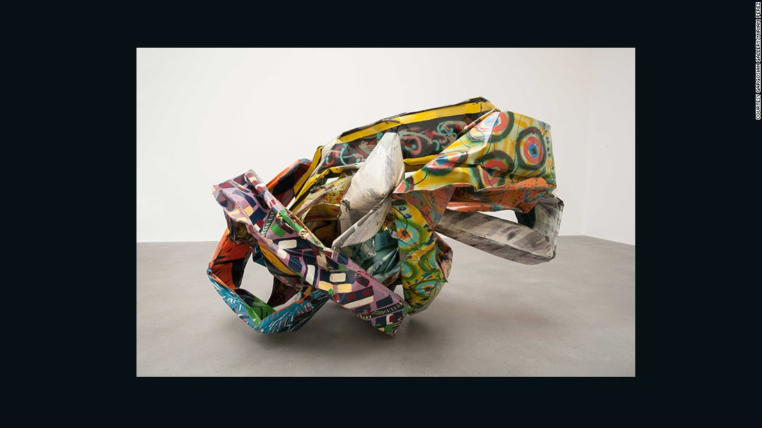 John Chamberlain used spray paint on steel before twisting it to produce this striking 1992 sculpture.