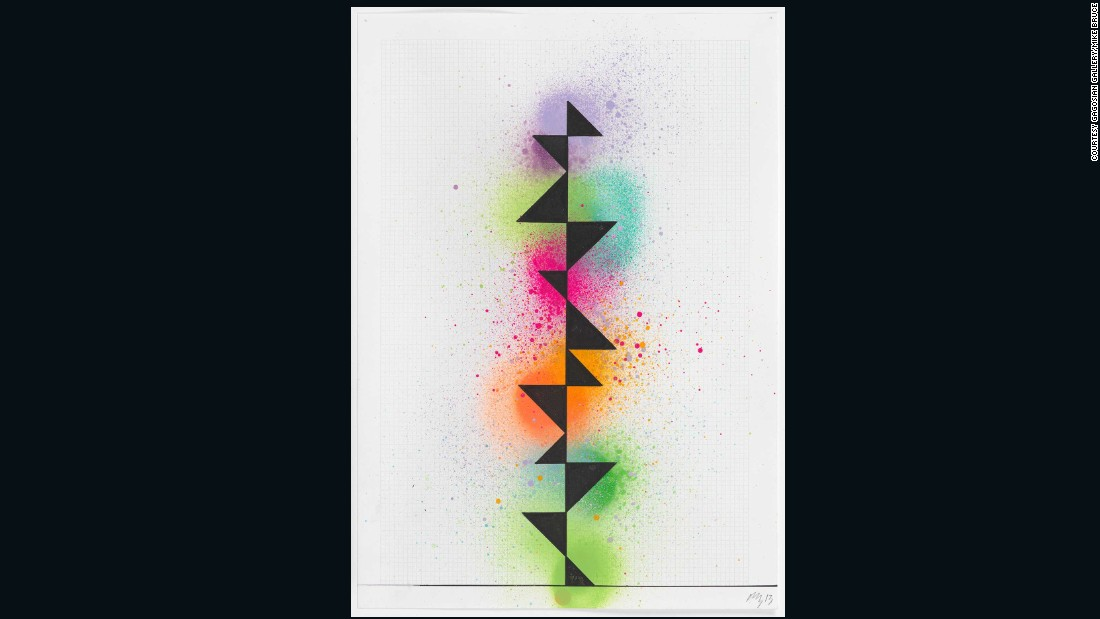 David Batchelor used spray paint, gouache and ink on graph paper to produce this untitled piece in 2013.