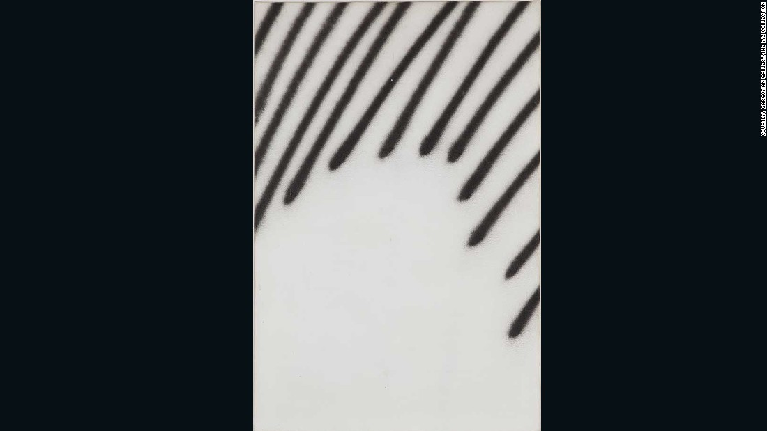 Martin Barre's early experiments with the medium have inspired contemporary artists such as David Ostrowski. He spray painted these lines on canvas in 1967.