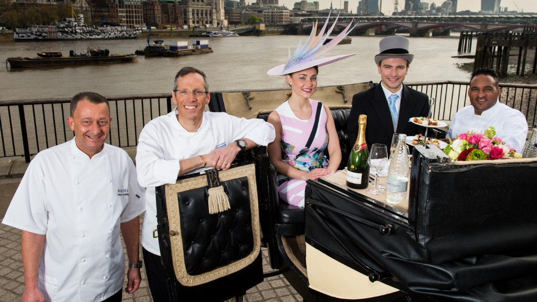 Caines (far right) unveiled the menu at a photocall alongside London's River Thames in the build-up to Ascot.