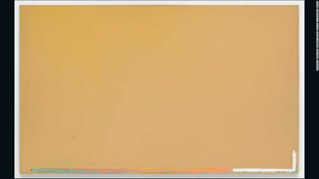 "Juels Olitski said what he wants from his paintings ""is a spray of color that hangs like a cloud but does not lose its shape."" This piece, entitled ""Gold"" was conceived in 1967."