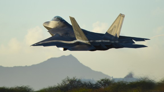 An F-22 Raptor from the Hawaii Air National Guard 199th Fighter Squadron increases altitude shortly after takeoff at Joint Base Pearl Harbor-Hickam, Hawaii, June 6, 2015. F-22 pilots from the 199th FS and 19th FS teamed up with maintenance Airmen from the 154th Wing and 15th Maintenance Group to launch and recover 62 Raptors that day. (U.S. Air Force photo/Tech. Sgt. Aaron Oelrich)