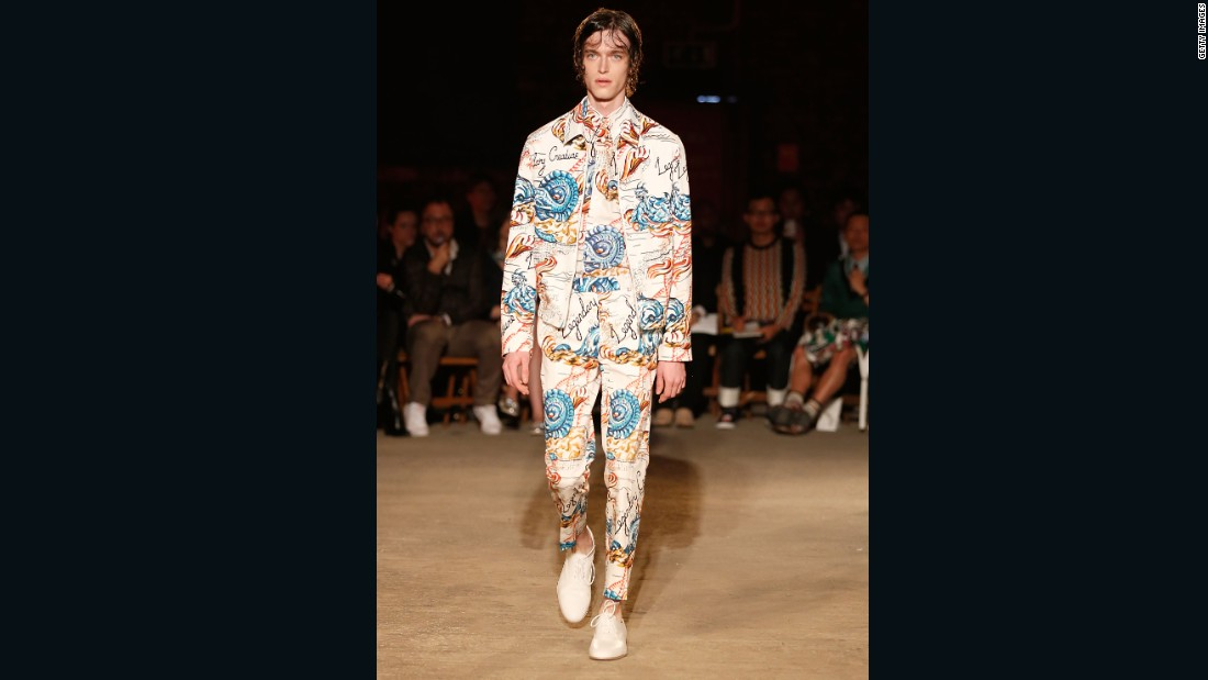 For Alexander McQueen, designer Sarah Burton drew inspiration from the Victorian sailor, dreaming up well-fitted suits and captain's coats for men-at-sea. Copious amounts of hair product made the models look like they'd been drenched earlier in the day.